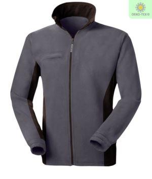 Zweifarbiges Fleece, langer Reissverschluss mit klappbarem Badgehalter, zwei Taschen. Farbe: Grau/Schwarz
