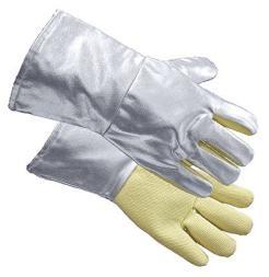 Anflughandschuhe, Innenhand aus Para-Aramid, Laenge 35 cm, silberfarben, zertifiziert: EN 388, EN 407, EN 420
