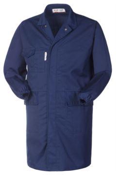 Antazid und antistatischer Laborkittel, Knopfverschluss, zwei aufgesetzte Taschen und eine Tasche, elastischer Aermelbund, zertifiziert nach EN 1149-5, EN 13034, Farbe marineblau.