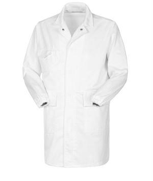Antazid und antistatischer Laborkittel, Knopfverschluss, zwei aufgesetzte Taschen und eine Tasche, elastischer Aermelbund, zertifiziert nach EN 1149-5, EN 13034, Farbe weiss