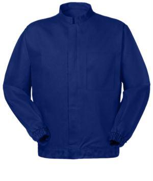 Anti Tangle Jacke, zentraler Reissverschluss, Stehkragen, blaue Farbe. UNI EN 510 und UNI EN 340: 04 Zertifikat