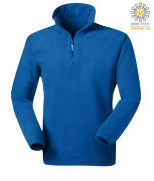 Antipilling Microfleece aus 100% Polyester mit kurzem Reissverschluss und elastischem Gewebe am Handgelenk, Farbe koenigsblau