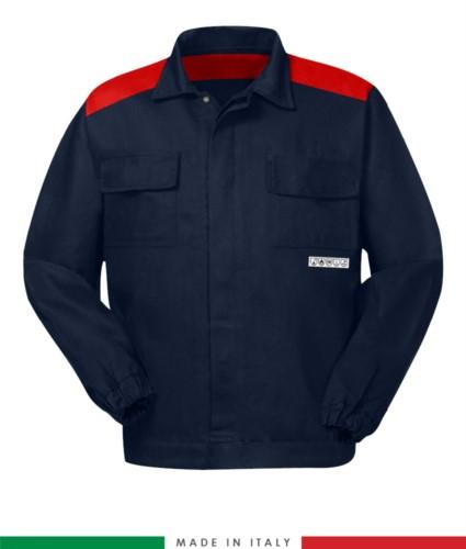 Zweifarbige Multipro-Jacke, verdeckter Knopfverschluss, zwei Brusttaschen, elastische Aermelbuendchen, Farbeinsaetze an Schultern und Innenkragen, Made in Italy, Farbe marineblau/rot