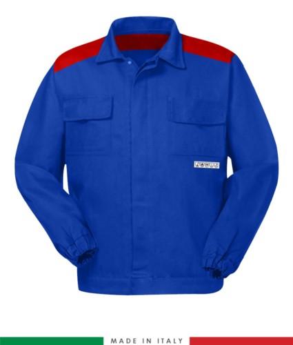 Zweifarbige Multipro-Jacke, verdeckter Knopfverschluss, zwei Brusttaschen, elastische Aermelbuendchen, Farbeinsaetze an Schultern und Innenkragen, Made in Italy, Farbe koenigsblau/rot
