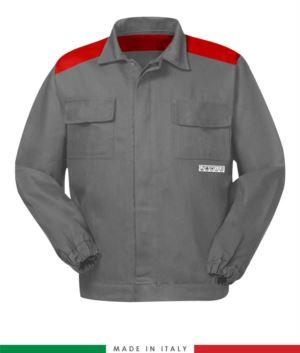 Zweifarbige dreiwertige Jacke, verdeckter Knopfverschluss, zwei Brusttaschen, elastische Aermelbuendchen, Farbeinsaetze an Schultern und Innenhals, Farbe grau/rot