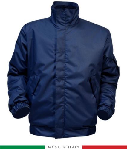 Antistatische Jacke muss, Reissverschluss vorne, geschlossener Kragen, Aermel mit Gummizug, Farbe marineblau. UNI EN ISO 342:2004, EN 1149-5, EN 13034, UNI EN ISO 14116:2008, EN 14058 zertifiziert