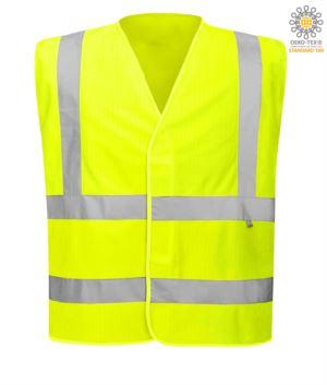Antistatische, feuerfeste Weste mit hoher Sichtbarkeit, geschlossen mit Klettverschluss, doppelter Reflexstreifen an der Taille, zertifiziert nach UNI EN 20471:2013, EN 1149-5, UNI EN ISO 14116:2008, Farbe gelb