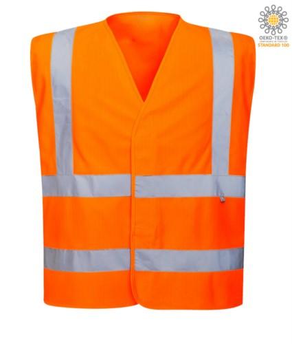 Antistatische, feuerfeste Weste mit hoher Sichtbarkeit, geschlossen mit Klettverschluss, doppelter Reflexstreifen an der Taille, zertifiziert nach UNI EN 20471:2013, EN 1149-5, UNI EN ISO 14116:2008, Farbe orange