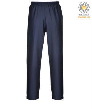 Feuerfeste, saeurefeste und antistatische Hose, verstellbarer Saum mit Knoepfen, Farbe marineblau. CE zertifiziert, EN 343:2008, EN 1149-5, EN 13034, UNI EN ISO 14116:2008