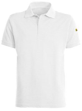 ESD antistatisches Poloshirt, kurzarm mit 3 versteckten Knoepfen, zertifiziert nach En 1149-5, EN 61340-5-1:2007, Farbe weiss