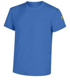 Antistatisches Kurzarm-T-Shirt, Rundhalsausschnitt, zertifiziert nach EN 1149-5, EN 61340-5-1:2007. Farbe Medizinische hellblaue