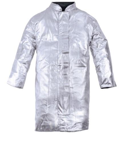Ungefuetterte Schuerze, hitzebestaendig mit Metallspritzern, silberfarben, zertifiziert nach EN 11612:2009