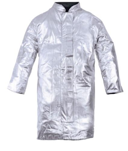 Einschichtiges, ungefuettertes Mantel, koreanischer Kragen, Klettverschluss, silberfarben, zertifiziert nach EN 11612:2009