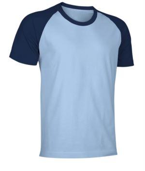 Zweifarbiges Kurzarm-Arbeitsshirt aus Jersey in himmelblau und marineblau