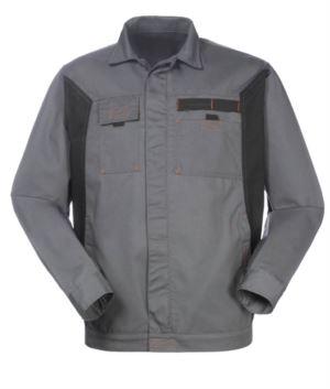 Zweifarbige Arbeitsjacke aus Polyester und Baumwolle, Farbe grau/schwarz