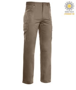 Arbeitshose mit mehreren Taschen, Kontrastnaht 100% Baumwolle, Farbe beige