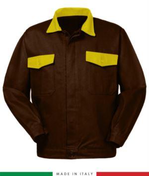Zweifarbige Arbeitsjacke, Made in Italy. Zwei Brusttaschen. Möglichkeit der Anpassung. Farbe braun/gelb