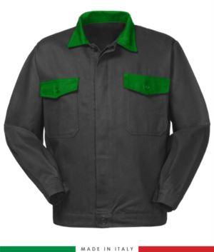 Zweifarbige Arbeitsjacke, Made in Italy. Zwei Brusttaschen. Möglichkeit der Anpassung. Farbe grau/ hellgruen