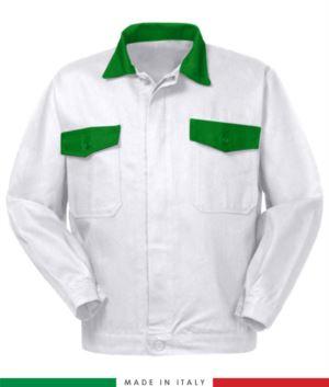 Zweifarbige Arbeitsjacke, Made in Italy. Zwei Brusttaschen. Möglichkeit der Anpassung. Farbe Brillante weiss/gruen