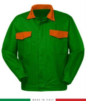 Zweifarbige Arbeitsjacke, Made in Italy. Zwei Brusttaschen. Möglichkeit der Anpassung. Farbe hellgruen/orange