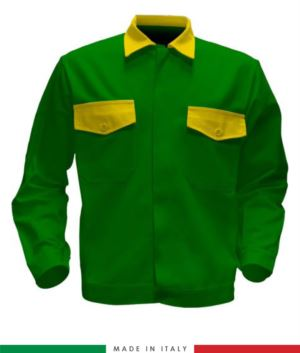 Zweifarbige Arbeitsjacke, Made in Italy. Zwei Brusttaschen. Möglichkeit der Anpassung. Farbe hellgruen/gelb
