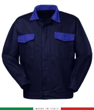 Zweifarbige Arbeitsjacke, Made in Italy. Zwei Brusttaschen. Möglichkeit der Anpassung. Farbe marineblau/ koenigsblau