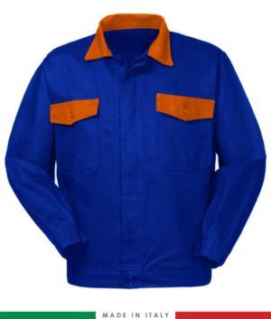 Zweifarbige Arbeitsjacke, Made in Italy. Zwei Brusttaschen. Möglichkeit der Anpassung. Farbe koenigsblau/orange