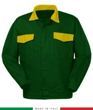 Zweifarbige Arbeitsjacke, Made in Italy. Zwei Brusttaschen. Möglichkeit der Anpassung. Farbe Flaschengruen/gelb