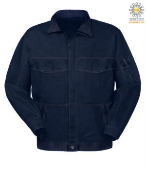 Mehrtaschen Arbeitsjacke mit Hemdkragen. Farbe blau