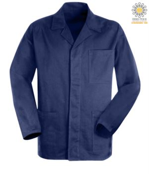 Blau Arbeitsjacke aus sanforisierter Massaua Baumwolle und verdeckten Knoepfen