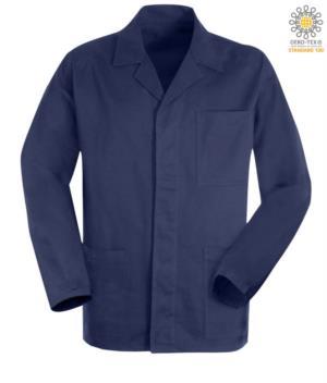 blaue Moleskin Arbeitsjacke mit verdeckten Knoepfen