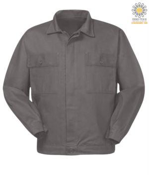 Arbeitsjacke aus Baumwolle mit zwei Brusttaschen.Farbe Graue