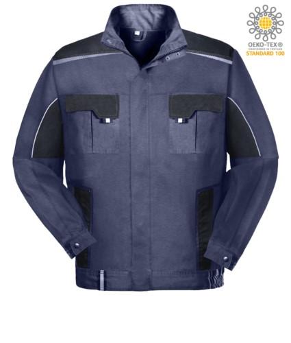 Zweifarbige Mehrtaschen Arbeitsjacke mit reflektierender Paspel an Schultern und Aermeln. Farbe blau/schwarz