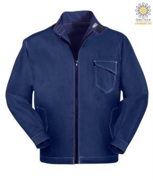 Arbeitsjacke mit Reissverschluss. Corea-Kragen mit Klettverschluss, Kontrastnaht. Farbe Blau