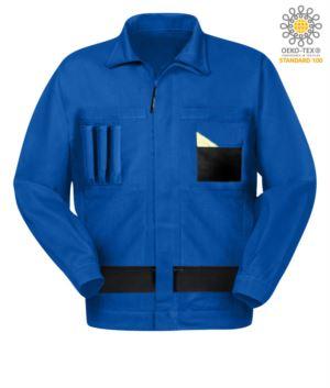 Zweifarbige mehrfarbige Arbeitsjacke mit koreanischem Kragen.Farbe Koenigliches Hellblau/Schwarz