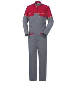 Mehrtaschen Overall mit koreanischem Kragen Mausschwanz an Taschen unad Aermeln, Frabe grau und rot