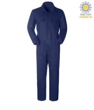 Overall, Hemdkragen mit mehreren Taschen, Reissverschluss verdeckt, elastisch am Handgelenk, Farbe blau