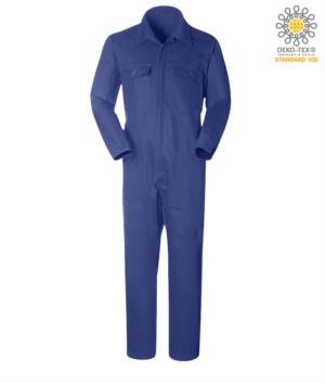 Overall mit Hemdkragen, mehrfachschen, Baumwolle, elastisch am Handgelenk. Farbe marineblau