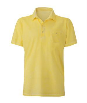 Kurzarm Poloshirt mit Tasche, taillierter Schnitt, Farbe Gelb