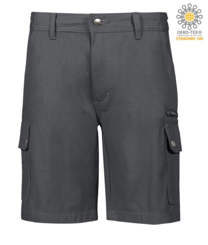 Multi-Taschen Ripstop Bermuda Shorts, zwei Seitentaschen mit Druckknoepfen und eine Reissverschlusstasche. Farbe grau