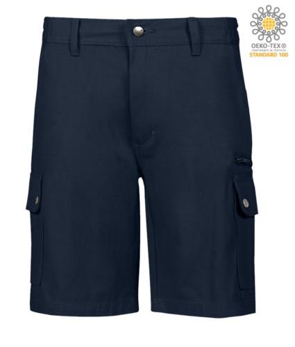 Multi-Taschen Ripstop Bermuda Shorts, zwei Seitentaschen mit Druckknoepfen und eine Reissverschlusstasche. Farbe blau
