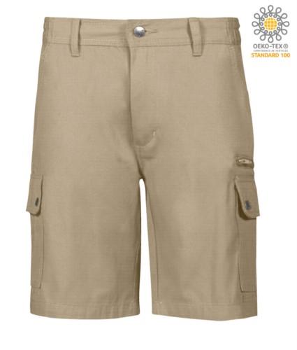 Multi-Taschen Ripstop Bermuda Shorts, zwei Seitentaschen mit Druckknoepfen und eine Reissverschlusstasche. Farbe kaki