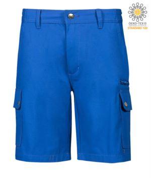 Multi-Taschen Ripstop Bermuda Shorts, zwei Seitentaschen mit Druckknoepfen und eine Reissverschlusstasche. Farbe koenigsblau