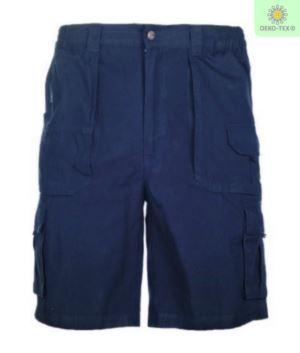 Bermuda Shorts mit mehreren Taschen Farbe blau