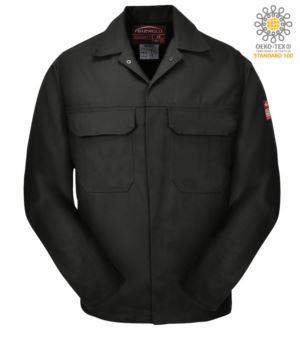 Feuerfeste Jacke, verdeckter Knopfverschluss, zwei Taschen, Manschetten mit Knopfverschluss, marineblau Farbe. CE zertifiziert, NFPA 2112, EN 11611, EN 11612:2009, ASTM F1959-F1959M-12