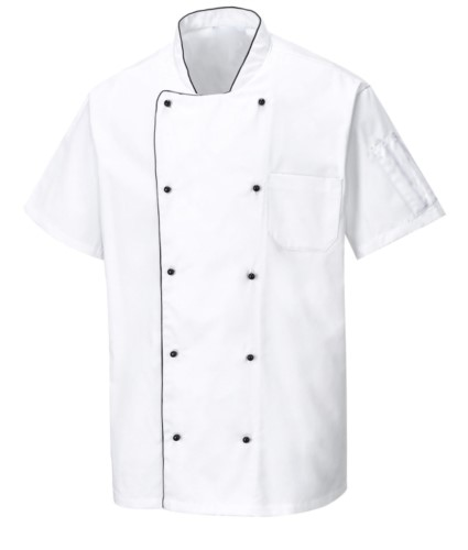 Belueftete Kochjacke, kurze Aermel, Anti-Frizz-Gewebe, Farbe weiss