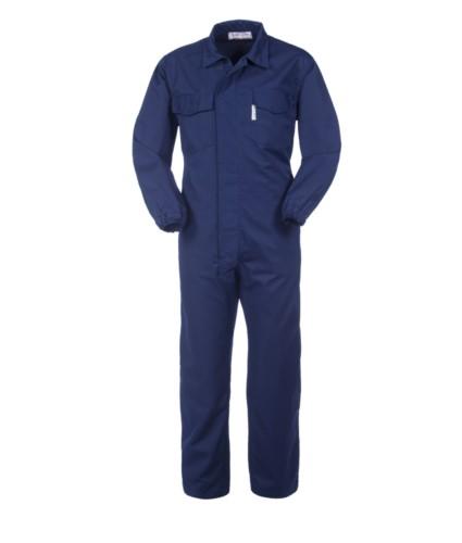 Saeurefreier und antistatischer Ovearll, Reissverschluss und Klettverschluss, elastische Taille, mehrteilig, elastische Manschetten, zertifiziert nach EN 13034, EN 1149-5, Farbe blau