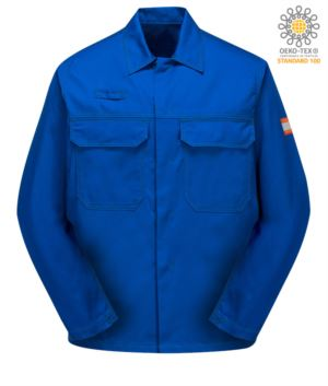 Saeurefeste Jacke, verdeckter Knopfverschluss, zwei Brusttaschen, zertifiziert nach EN 13034, Farbe Royalblau