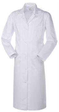 Medizinisches Damenhemd, Knopfleiste, offener Kragen, zwei aufgesetzte Taschen und eine Tasche, Rueckenschlitz, Fadenheftung, Farbe weiss