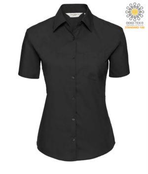 Herrenhemd kurzarm Farbe Schwarz 100% Baumwolle